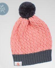 детская вязаная весенняя шапка из хлопка цвета фламинго