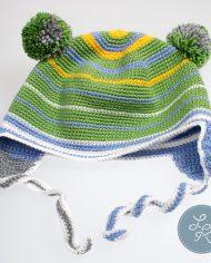 Детская шапка с двумя помпонами «Весенняя»
