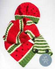 вязаные шапка и шарф-хомут для девочки «Сочный арбуз»