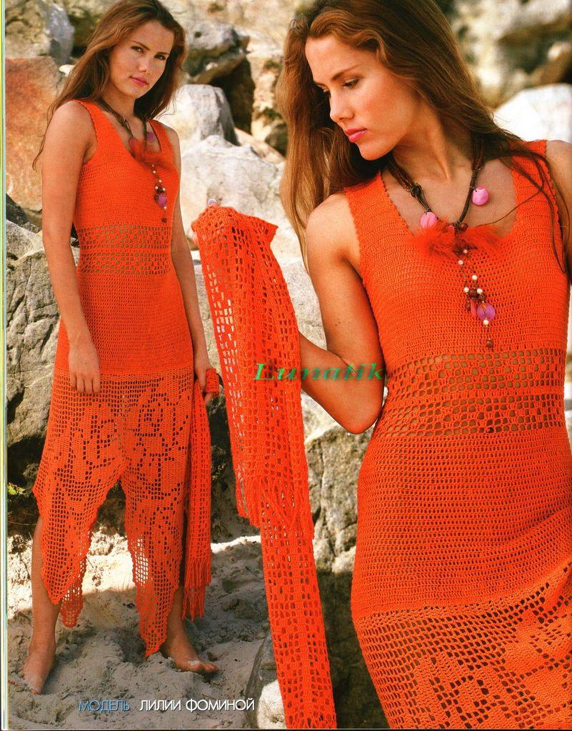 Пляжное платье филейное вязание крючком