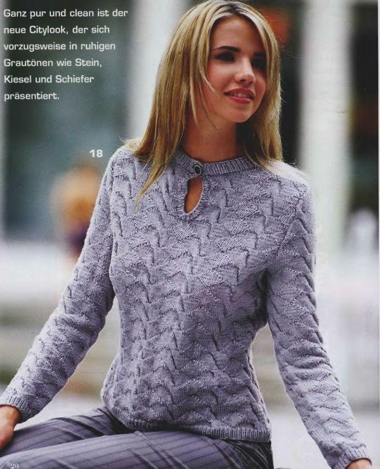 модели женских вязаных свитеров спицами