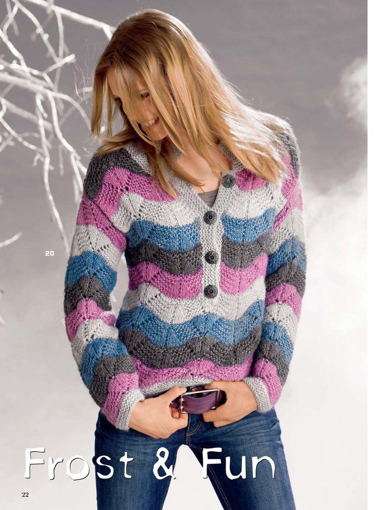 Теплый двухцветный свитер крючком